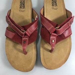 Earth Shoes - Earth Kalso Womens 9.5B Presto Red Leather Sandals